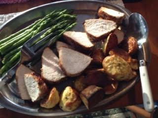 roast pork loin, asparagus, roasted potatoes