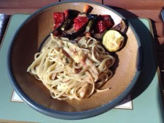 Carbonara pasta, Roasted veg w: Barbera d'Alba
