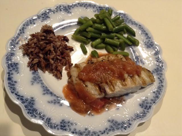 Grilled Bluefish w: Rhubarb sauce + Aust Riesling