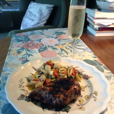 Grilled Jerk Chicken and Champage